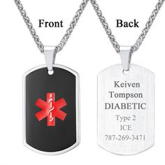 Medical Alert ID Necklace Custom Dog Tag Pendant Emergency Men Jewelry – Jewelry Custom Dog Tags, Packing Jewelry, Brass Material, Wholesale Jewelry, Book Worms, Dog Tag Necklace, Fashion Jewelry, Jewelry Making, Pouch