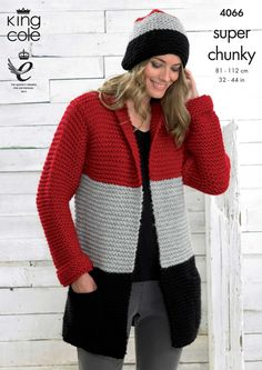 Chunky cardigan in block colours for an almost 80s look - King Cole