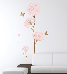 Buy Cortina PVC Vinyl Flowers Theme Wall Sticker Online - Florals - Wall Art - Pepperfry