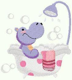 Bonito Bordado: Bordado Hipopótamo Baño Gratis !!
