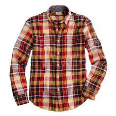 Indian cotton shirt in golden plaid by J.Crew
