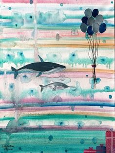 Original painting and collage on canvas of a whale and narwhal going to a party. The background is a mixture of water soluble wax pastels and acrylic and the collage elements were done on canvas paper. Gifts For Art Lovers, Lovers Art, Beautiful Artwork, Cool Artwork, Best Gifts For Her, Canvas Paper, Nature Paintings, Best Christmas Gifts, Nursery Decor