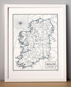 Ireland, Letterpress Map