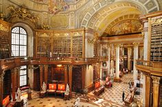 National Library in Vienna, Austria The Most Beautiful Libraries in the World - My Modern Metropolis - Grand Library, Dream Library, Hallstatt, World Library, Beautiful Library, Architectural Photographers, Home Libraries, Public Libraries, Modern Metropolis