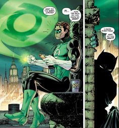 11/16/17  10:25p DC All Star Batman and Robin  Issue 8  Green Lantern aka Hal Jordan  on Ledge ''How Do You Know My Name?''  While Hot Dog Snacking     ''I Know Everything!''  Batman  Mystery Man   Of Course, You Do, Bat!  christellee.com