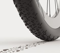 The wheels on this bike will print hearts on the street where you go!