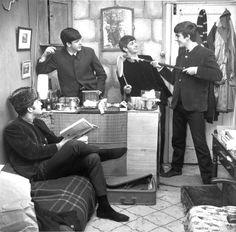 The Beatles fooling around. Photo by Dezo Hoffman, circa 1963.