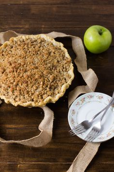 The best dutch apple pie I\'ve ever had. dutch apple pie with white chocolate butter sauce  #thanksgiving #pie ohsweetbasil.com