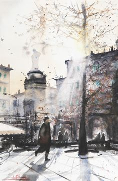 "Piazza Alessandro Volta, Como, Italy. ""When the Sun is the First Actor... "". Watercolour by Emmanuele Cammarano Italian Painter www.emmanuelecammarano.com"