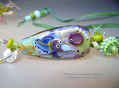 Manuela Wutschke lampwork beads Happy Bird by manuelawutschke