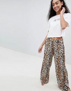 ASOS   ASOS DESIGN tee & leopard print wide leg PANTS pyjama set