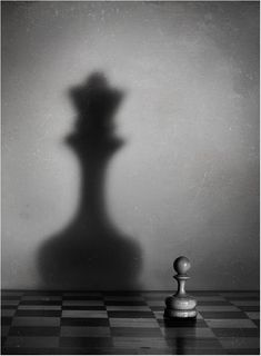 Shadow is used in this photo to make the small chess piece look larger. Object Photography, Shadow Photography, Conceptual Photography, Still Life Photography, Creative Photography, Photography Books, Photography Lighting, Photography Portfolio, Creative Photos