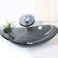 彩色上絵洗面ボウル&蛇口セット 洗面台 洗面器 手洗器 手洗い鉢 排水金具付 透明&灰色 楕円形 VT0003