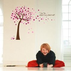 Amazon.com - Hunnt® Pink Sakura Flower Cherry Blossom Tree, quote I Love You, Wall Sticker Decals PVC Removable Wall Decal for Nursery Girls and Boys Children's Bedroom - Decorative Stickers $8.77