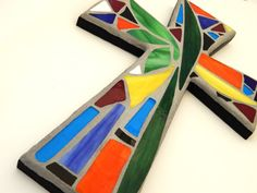 """Mosaic Wall Cross, Abstract Floral Design, """"Tropical Garden"""", Multicolored/Bright Handmade Stained Glass Mosaic 15"""" x 10"""" by GreenBananaMosaicCo, $60.00"""