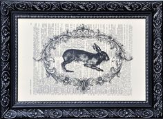 HARE ART print on an vintage french dictionary page,hare art print hare poster (426) by frenchprints. Explore more products on http://frenchprints.etsy.com