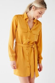 Shop UO Button-Down Satin Shirt Dress at Urban Outfitters today. We carry all the latest styles, colors and brands for you to choose from right here.