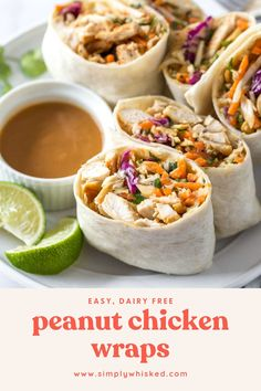 These easy, peanut chicken wraps are a simple and healthy lunch recipe, but they're delicious any time of day. Soft flour tortillas are filled with seasoned chicken, crunchy coleslaw and peanuts with a slightly spicy, homemade sauce. Good Healthy Recipes, Healthy Foods To Eat, Lunch Recipes, Dinner Recipes, Cooking Recipes, Lasagna Recipes, Healthy Eating, Steak Recipes, Sandwich Recipes