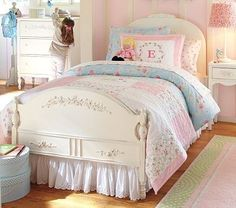 I love this! The shabby chic quilt with pink and aqua coordinating colors are…