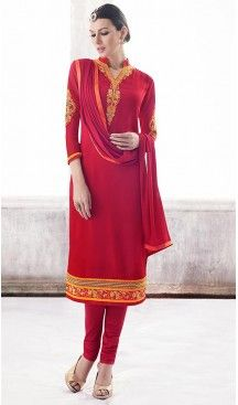 Red Color Georgette Straight Cut Churidar Suit with Dupatta | FH459671795