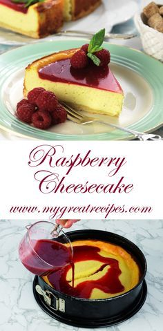#Smooth and #creamy #cheesecake is always a delight! A glossy #raspberry topping gives this #cake a beautiful look and a #wonderfully tart flavor.