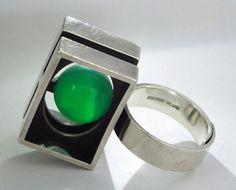 1970 Kupittaan Kulta Elis Kauppi Sterling Silver & Jade