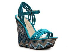 Enzo Angiolini Dambra Mesh Wedge Sandal Color Block Hot Spring Styles Women's Shoes - DSW