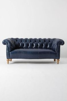 Chester Black Eco-Leather Sofa with Nail Heads on Wheels - modern - sofas - new york - TRIBECA DECOR