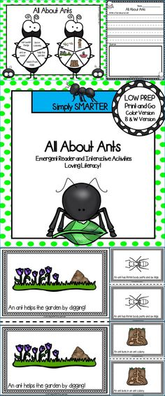 All About Ants Emergent Reader Book AND Interactive Activities Ramadan Activities, Interactive Activities, Reading Activities, Science Activities, Preschool Printables, Preschool Kindergarten, Shared Reading, Guided Reading, Bug Hunt