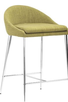 Mad Men-style mod, the Reykjavik Counter Chair has lovely, mid-century lines. Slender legs give it a svelte silhouette. Comes in Tobacco, Tangerine, Graphite, or Pea fabric. Sold as sets of two.