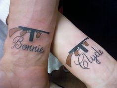 Bonnie and Clyde couples tattoo, got this tattoo after just a few days of dating, everyone thought we'd gone crazy, that was 3 years ago- now we are married and expecting twins
