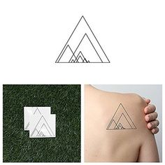 Tattify Nested Triangle Temporary Tattoo - Triumphant (Set of 2) - Other Styles Available and Fashionable Temporary Tattoos - Tattoos that are long lasting and Waterproof. Latest temporary tattoo designs made fashionable for any setting. Sizes vary depending on design. Completely waterproof lasting anywhere between 1 to 5 days; Just add water to apply. Quick application in under 1 minute to look and feel great. Top quality nontoxic materials used to ensure safe application.