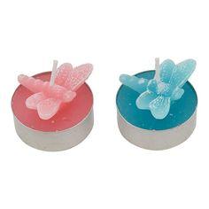 Bougies libellules rose ou bleu menthe (par 4)