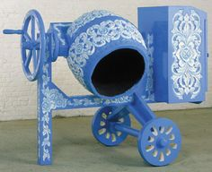 Wim Delvoye Concrete Mixer (Wedgewood III) is ornamented with the signature pattern of Wedgwood china and intricately carved in wood. The latter's combination of functionality and decoration, modern-day technology and traditional craftsmanship is just as the 18th-century ceramicist Josiah Wedgwood would have intended.
