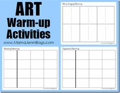 Art Warm-up printables