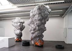 Gal Weinstein's 'Fire Tires' sculpture addresses more than your average installation. The four meter-high wheels are made of wax, mimicking the style to a T with expertly carved rivets. The Tel-Aviv-based artist crafted the puffs of smoke of polystyrene foam and graphite to match the faux rubber tubes.  A specific social, economic and political mandate lies at the heart of Weinstein's Fire Tires. He addresses the pressing Middle Eastern oil crisis as a native of the region, ...