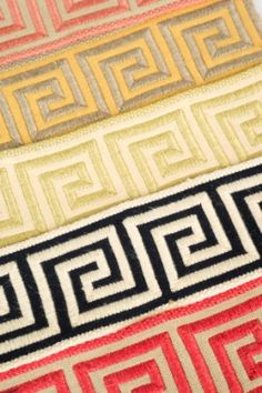 """Available in 10 colors, Grecian is a 2 1/8"""" Greek Key border tape from Stroheim's A La Mode Trimmings collection."""