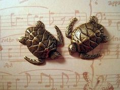 Oxidized Brass Plated Sea Turtle Stampings (2) - BORAT3287 Jewelry Finding