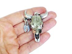 bull skull pendant antique silver tone ox head by LonasART on Etsy