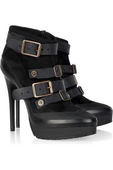Burberry Shoes & Accessories Buckled suede ankle boots  | NET-A-PORTER