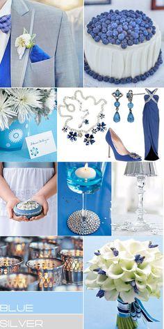 blue silver wedding colour theme
