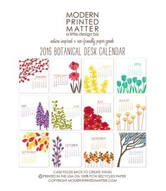 In stock and ready to ship tomorrow! This 2016 calendar is a collection of botanical illustrations. Brighten your desk or cube, or give as a