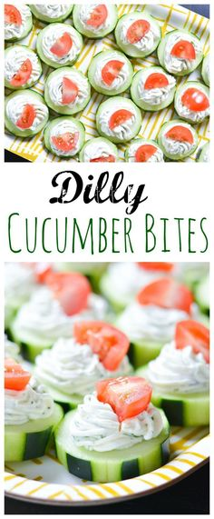 These fresh Dilly Cucumber Bites make a great heal. These fresh Dilly Cucumber Bites make a great healthy appetizer. Cucumber slices are topped with a fresh dill cream cheese and yogurt mixture, and finished with a juicy cherry tomato. Cucumber Appetizers, Cucumber Bites, Cucumber Recipes, Low Carb Appetizers, Finger Food Appetizers, Appetizers For Party, Tomato Appetizers, Easy Healthy Appetizers, Cucumber Snack