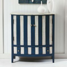 Evergreen Enterprises - Blue And White Two Door Cabinet In Store Now