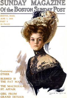 1908 Sunday Magazine Cover, Gibson Girl fashion illustration