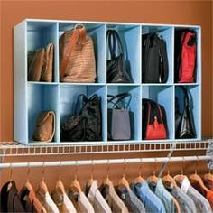 Purse Storage / i think this would be doable - I have such a small closet - and tons of purses - but I think I can do this! Handbag Storage, Handbag Organization, Closet Organization, Handbag Organizer, Clothing Organization, Shoes Organizer, Master Closet, Closet Bedroom, Closet Space