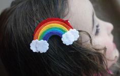 Rainbow Hair Clip Meet Miss Prism by CravingCuteness on Etsy, $3.50