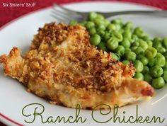 Ranch Chicken Recipe | Six Sisters' Stuff Need: 1 cup corn flakes, finely crushed; 3/4 c. grated Parmesan cheese; 1 packet ranch dressing mix; 8 boneless chicken breasts, cut in half;  1/2 c. butter, melted.