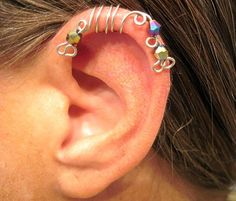"""No Piercing """"Peacock"""" Ear Cuff for Helix 1 Cuff  Lots of Color Choices Cartilage Cuff"""