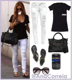 white torn and tattered skinny jeans, black tshirt, black bag, and sunglasses.